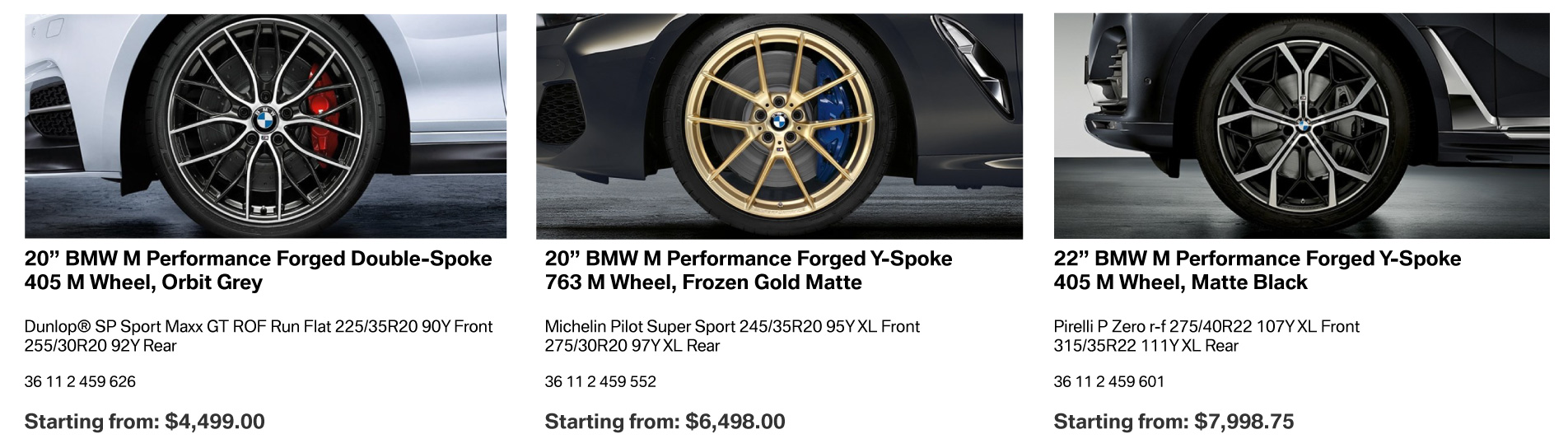 BMW Summer Wheel Packages May 2020