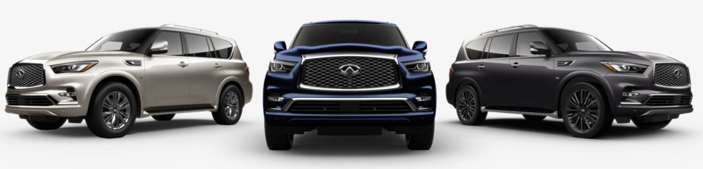 various trim levels and colours of the infiniti qx80