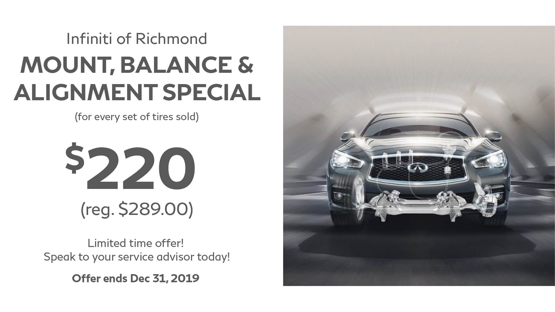 4 wheel alignment special at Infiniti of Richmond