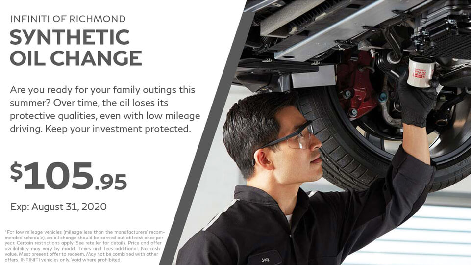 Synthetic Oil change at Infiniti of Richmond