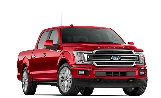 A 2019 Ford F150 at a 3/4 angle in red