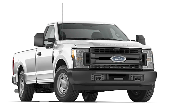 A 2019 Ford F350 at a 3/4 angle in white