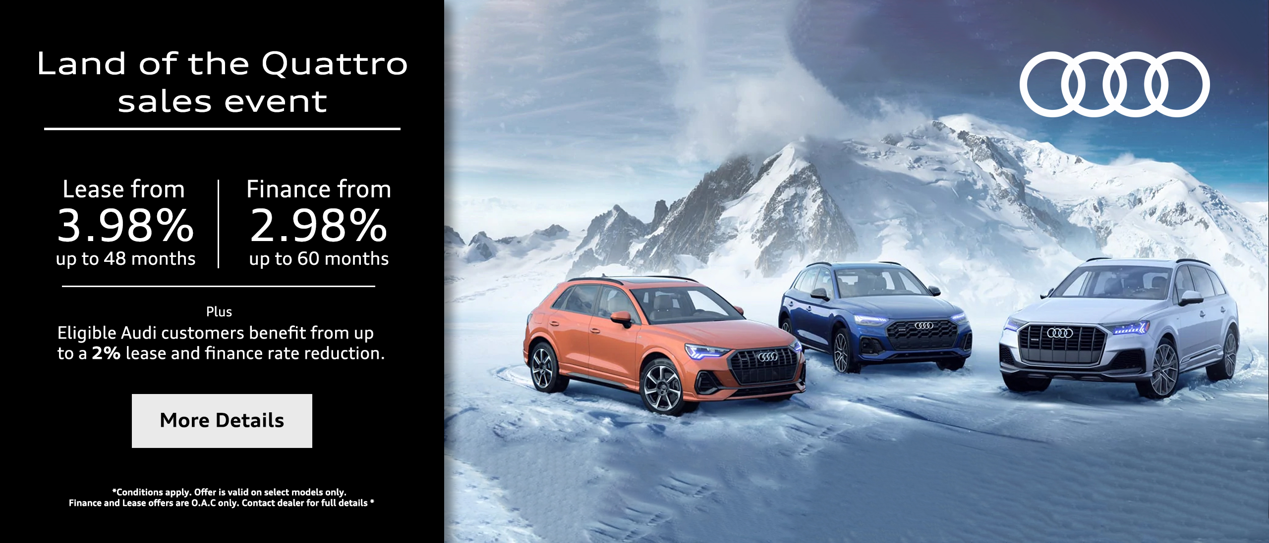 Land Of The Quattro Sales Event Banner