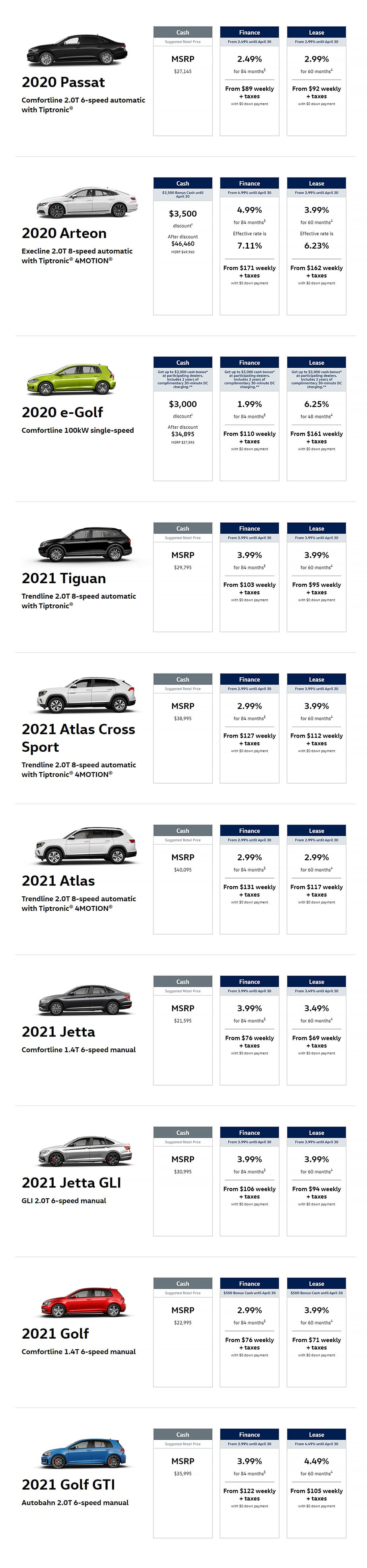 Vw April Offers Page