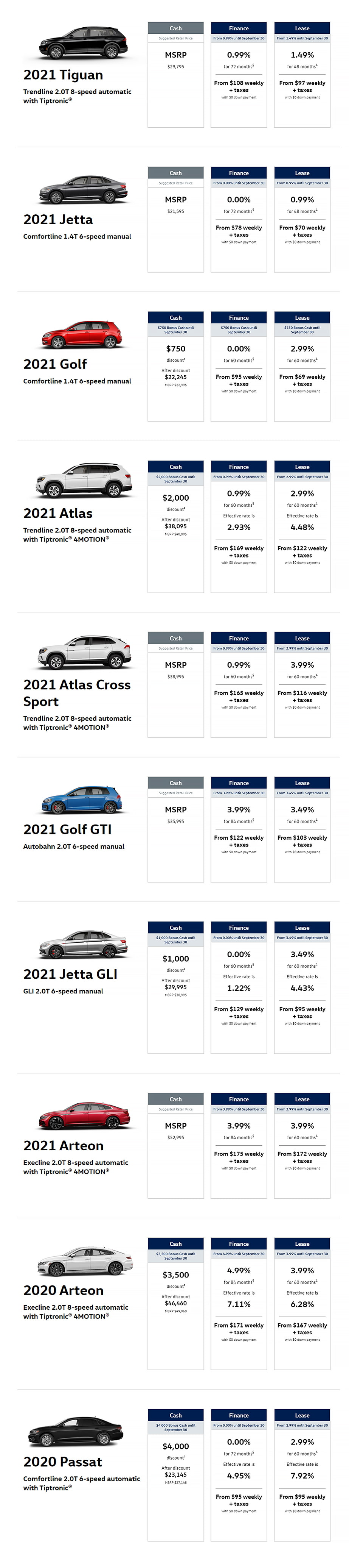 Vw21 September Offers Page