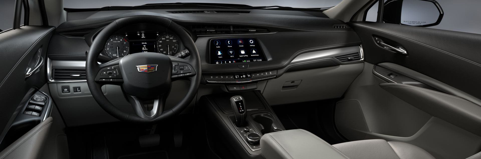 2019 Cadillac Xt4 Light Platinum Leatherette Interior With Jet Black Accents Hrq Cropped