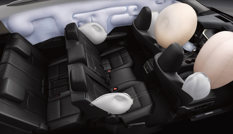 10 safety airbags around the vehicle cabin