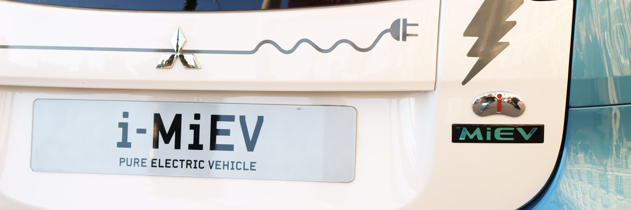 The rear of a Mitsubishi I-MIEV electric car.