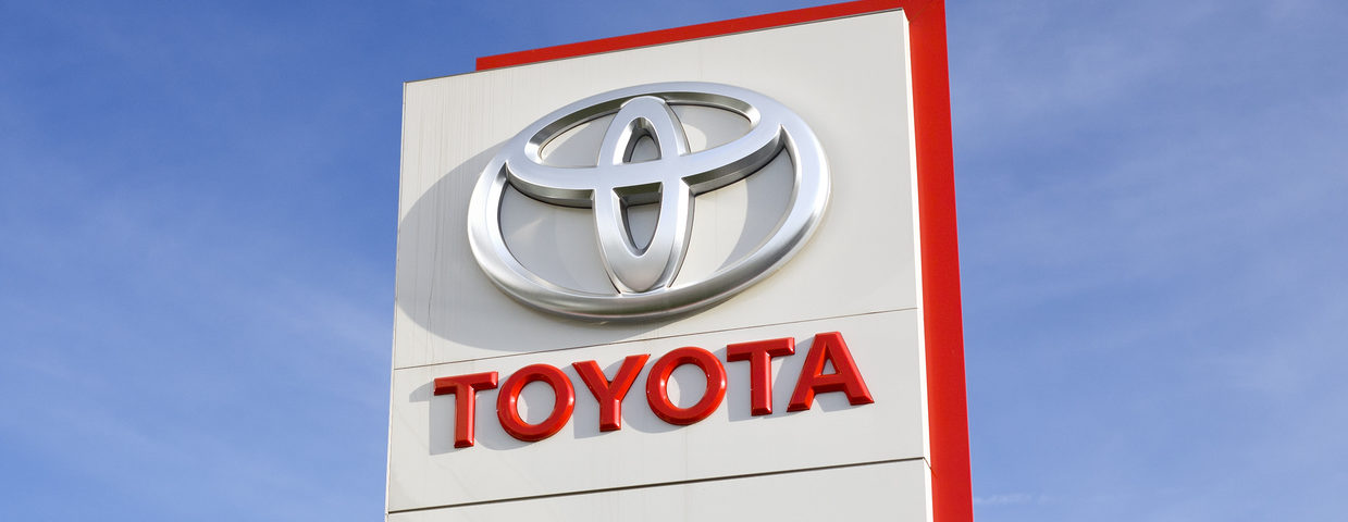 Toyota logo on an outdoor sign