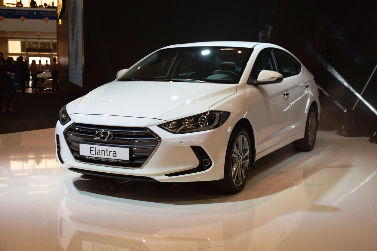 Hyundai Elantra in showroom