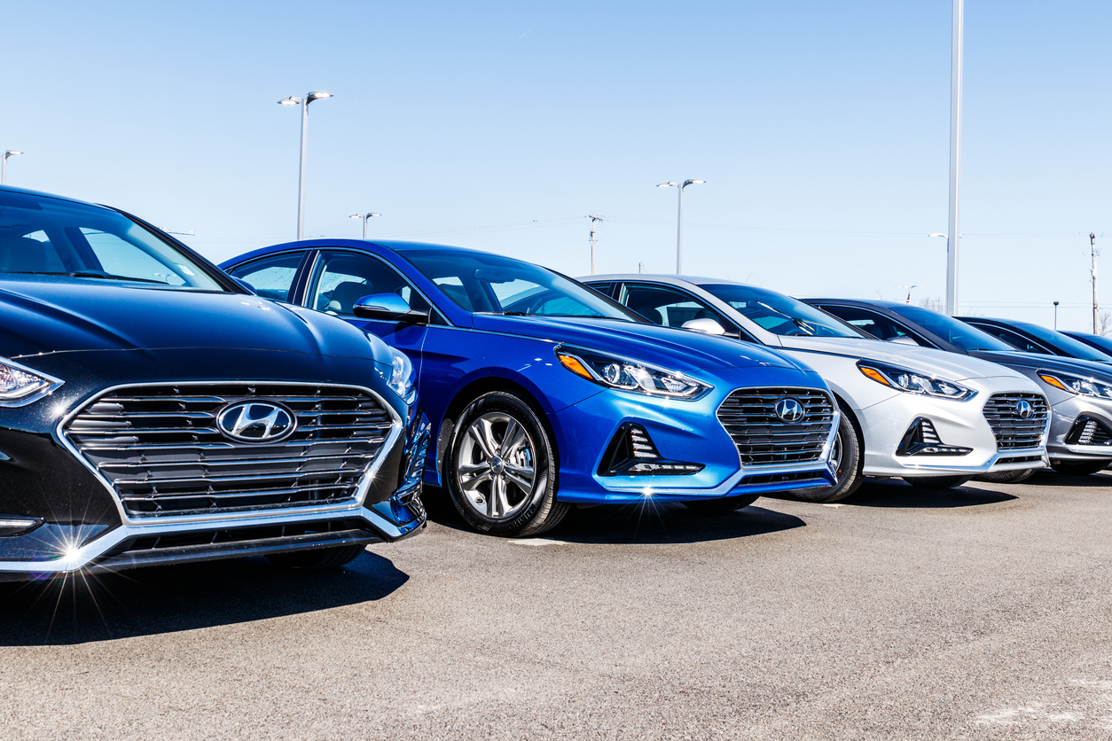 Line of Hyundai cars