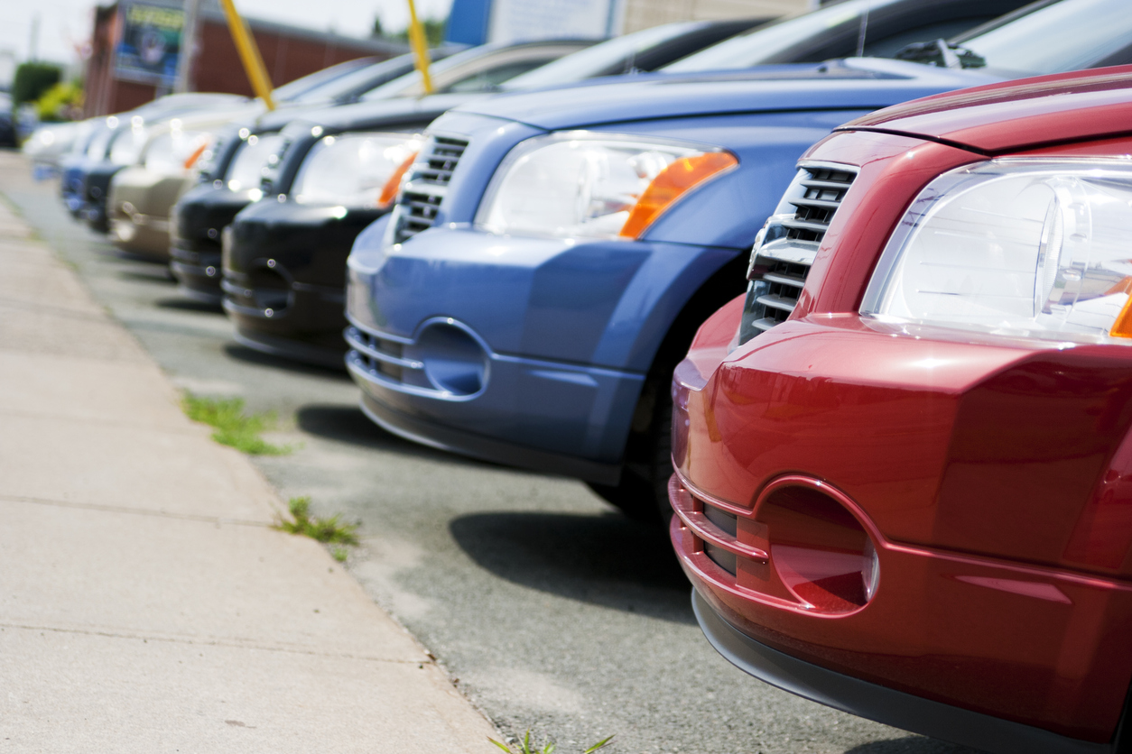 Row of Dodge Caliber vehicles at Car Dealership