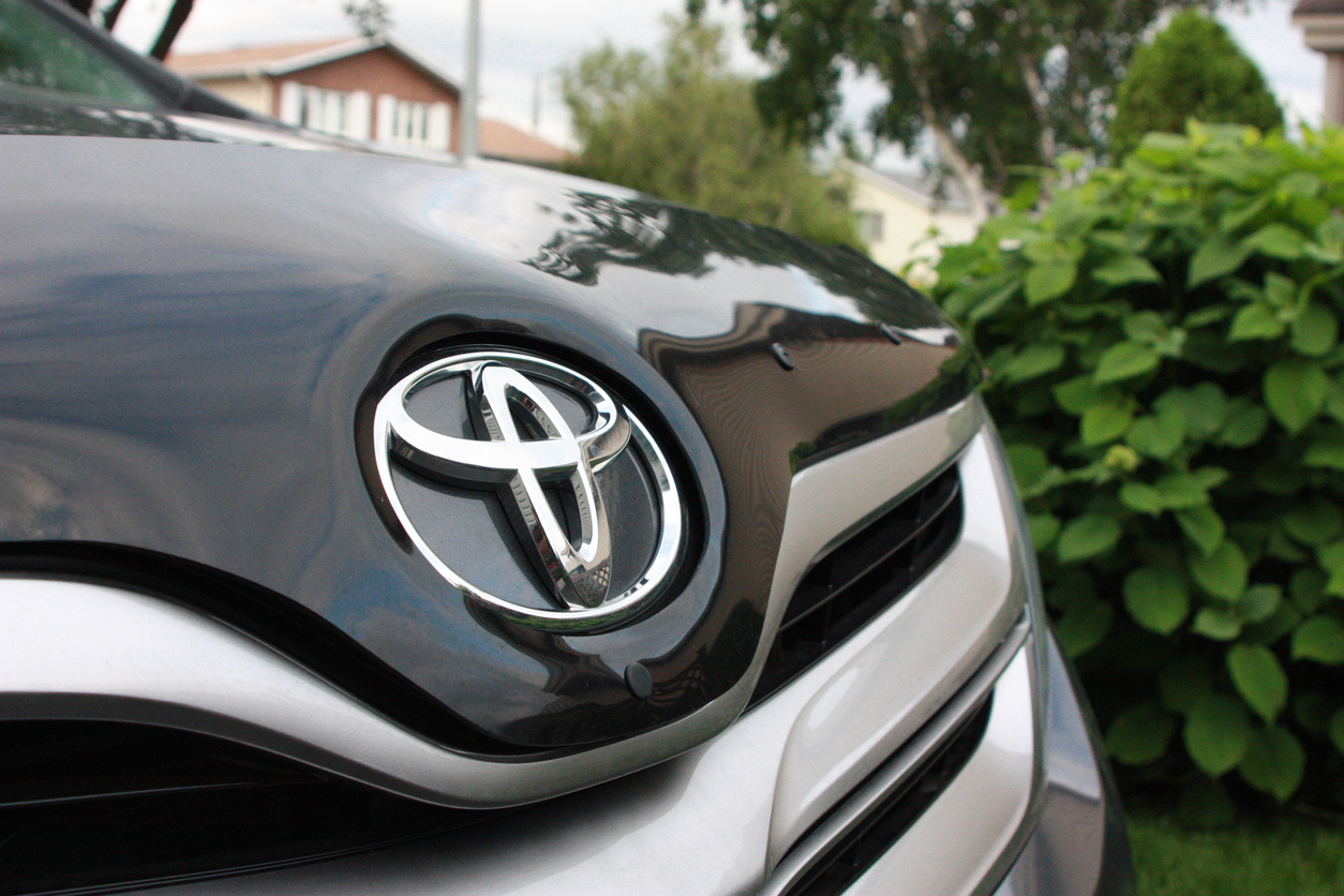 Toyota logo on the front of a car
