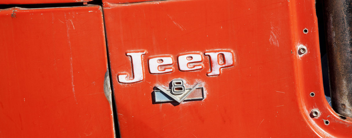 Old Jeep Branding Close-Up