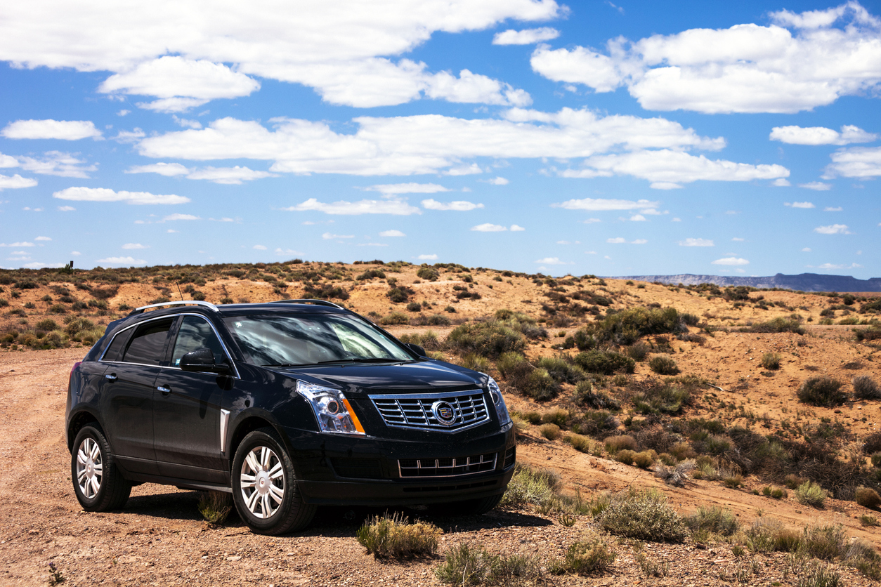 Cadillac SRX in the desert
