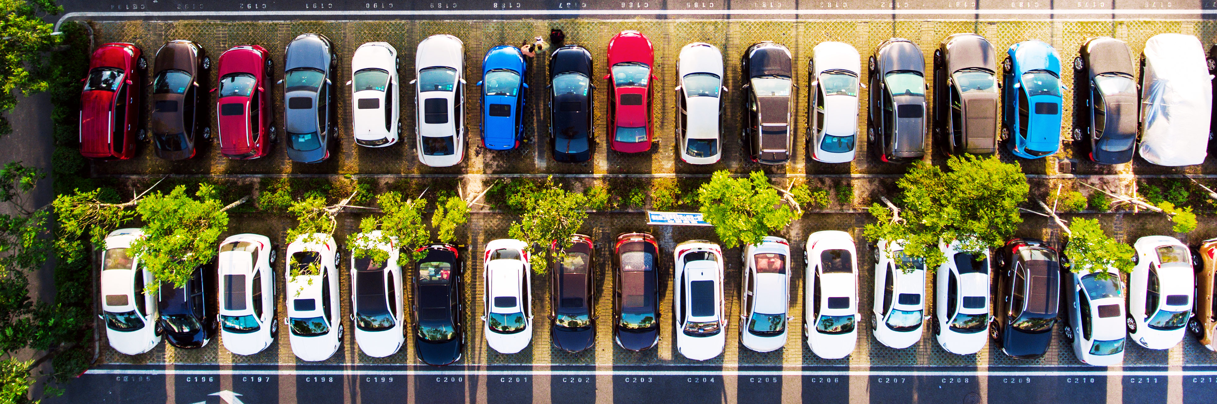 Overhead view of full parking lot