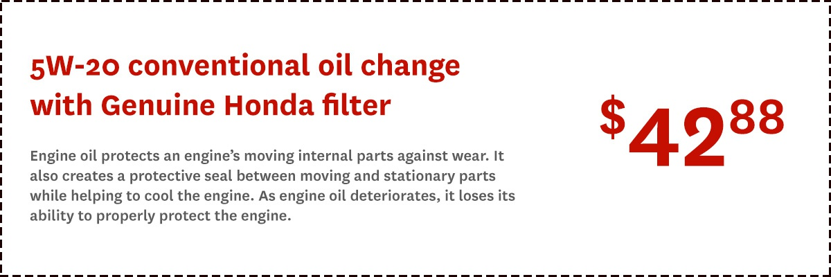 Honda Conventional Oil Change Offer