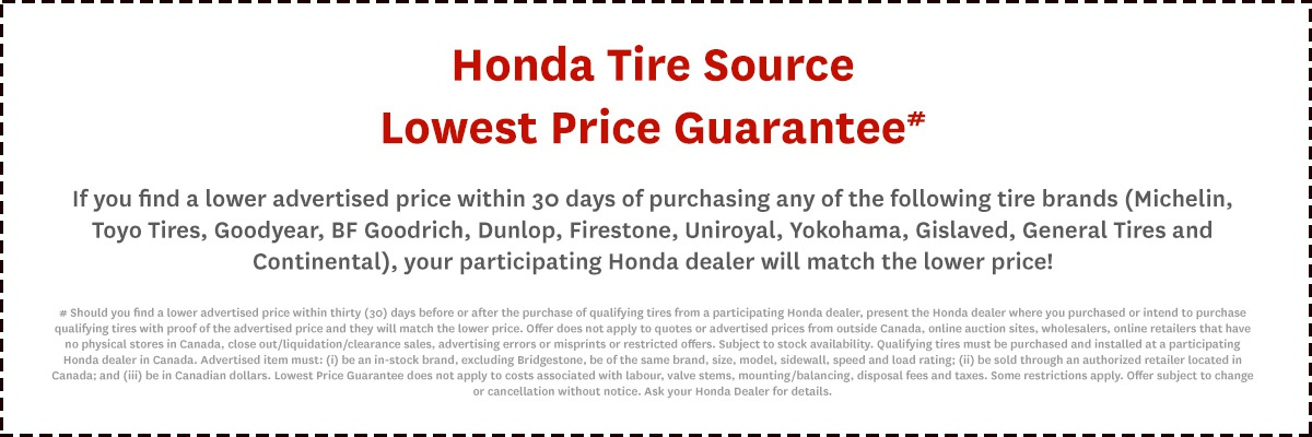 Honda Price Match Quarantee