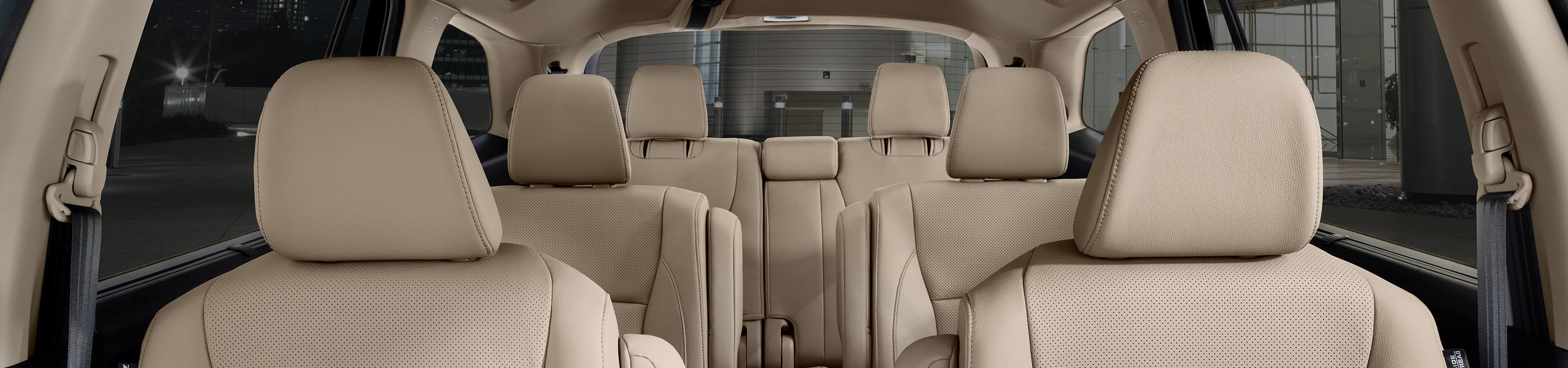 interior seating shot of Honda pilot showcasing 3 rows and 7 seats