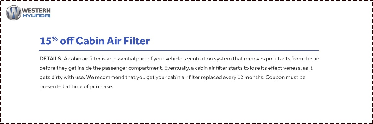 15% Off Air Cabin Filters