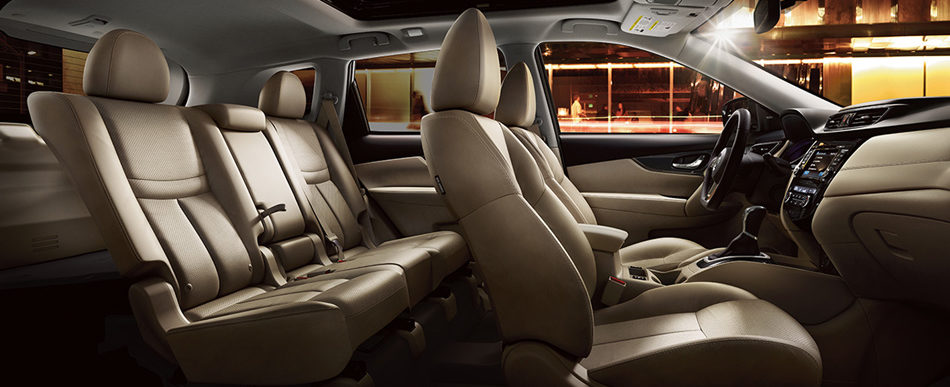 Nissan Rogue® SL shown in Almond Leather with optional equipment.