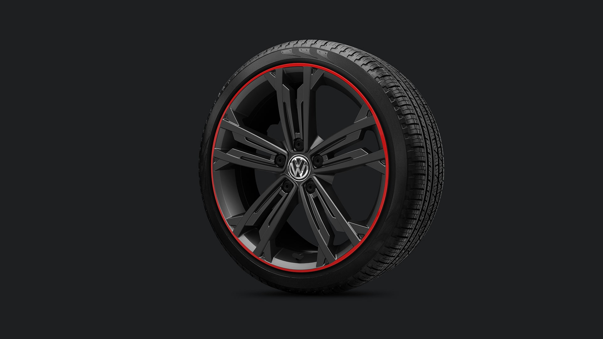 "18"" Sevilla black alloy wheels with red rings"