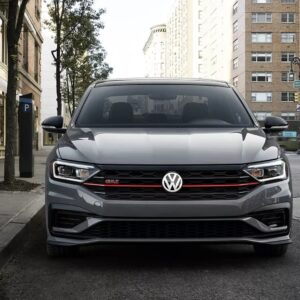 Front view of Jetta GLI parked on a city street