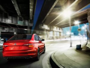 The Jetta GLI grips the pavement with its sport suspension
