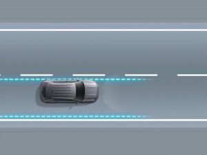 3-D model displaying the Lane Assist Technology from Volkswagen
