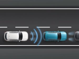 3-D model displaying the Front Assist Technology from Volkswagen