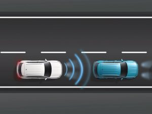 3-D model displaying the Adaptive Cruise Control Technology