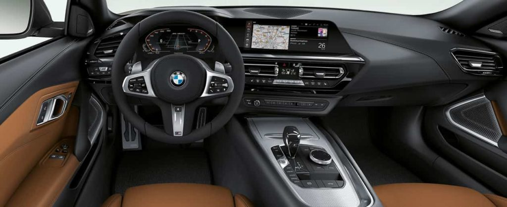 BMW Z4 Roadster M40i, steering wheel and driver's place.