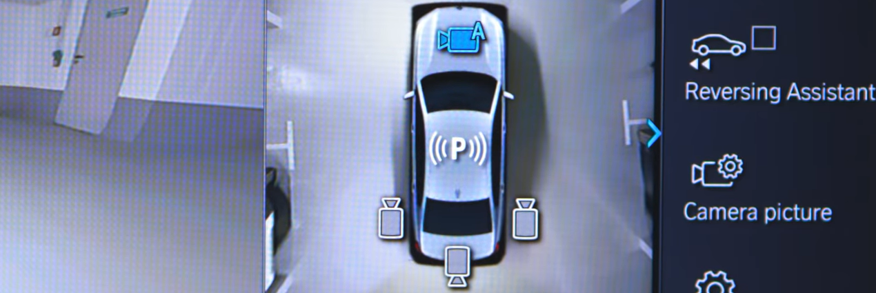 Overhead view display of BMW camera options