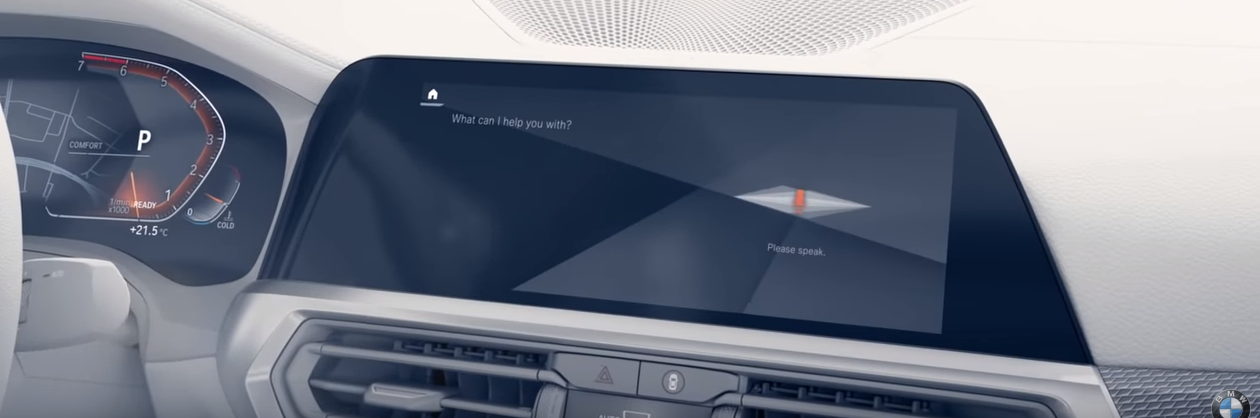 BMW iDrive display screen demonstrating BMW Intelligent Personal Assistant