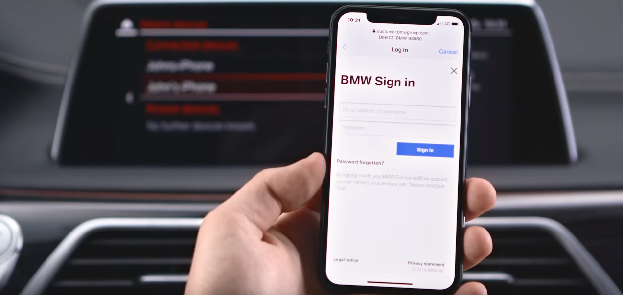 iPhone displaying BMW partners website