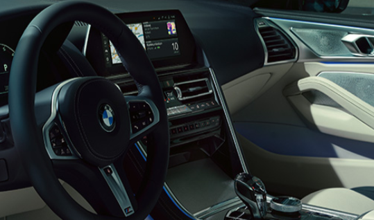 8 Series Gran Coupe interior of steering wheel and dash