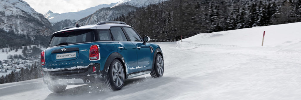 MINI with ALL4 driving on a snowy road