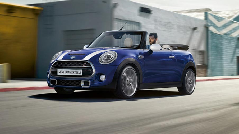 MINI Convertible S 3/4 view driving down road