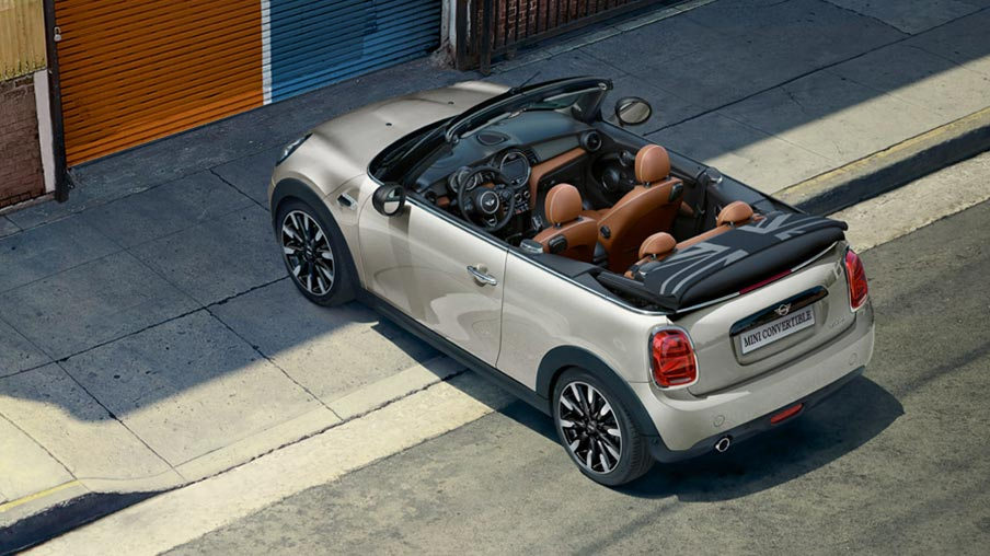 MINI Convertible from bird's eye view with top down