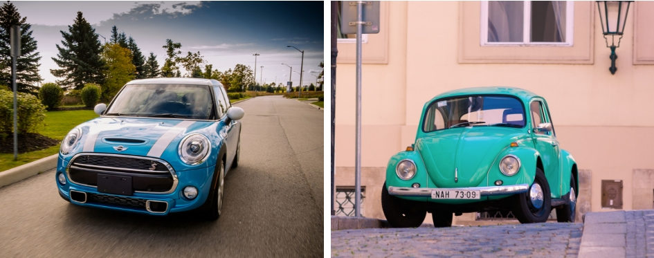 A picture of a blue MINI Cooper beside a picture of a teal Volkswagen Beetle