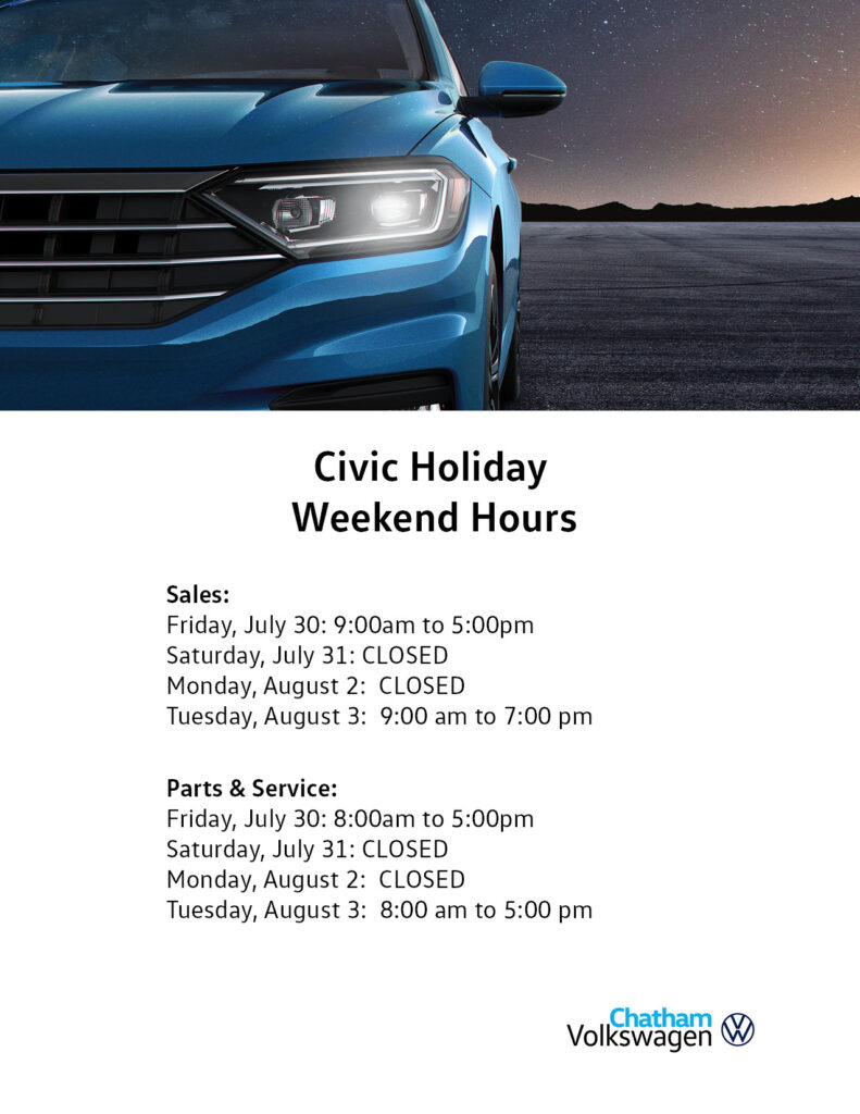 Civic Day Hours Chatham 2021