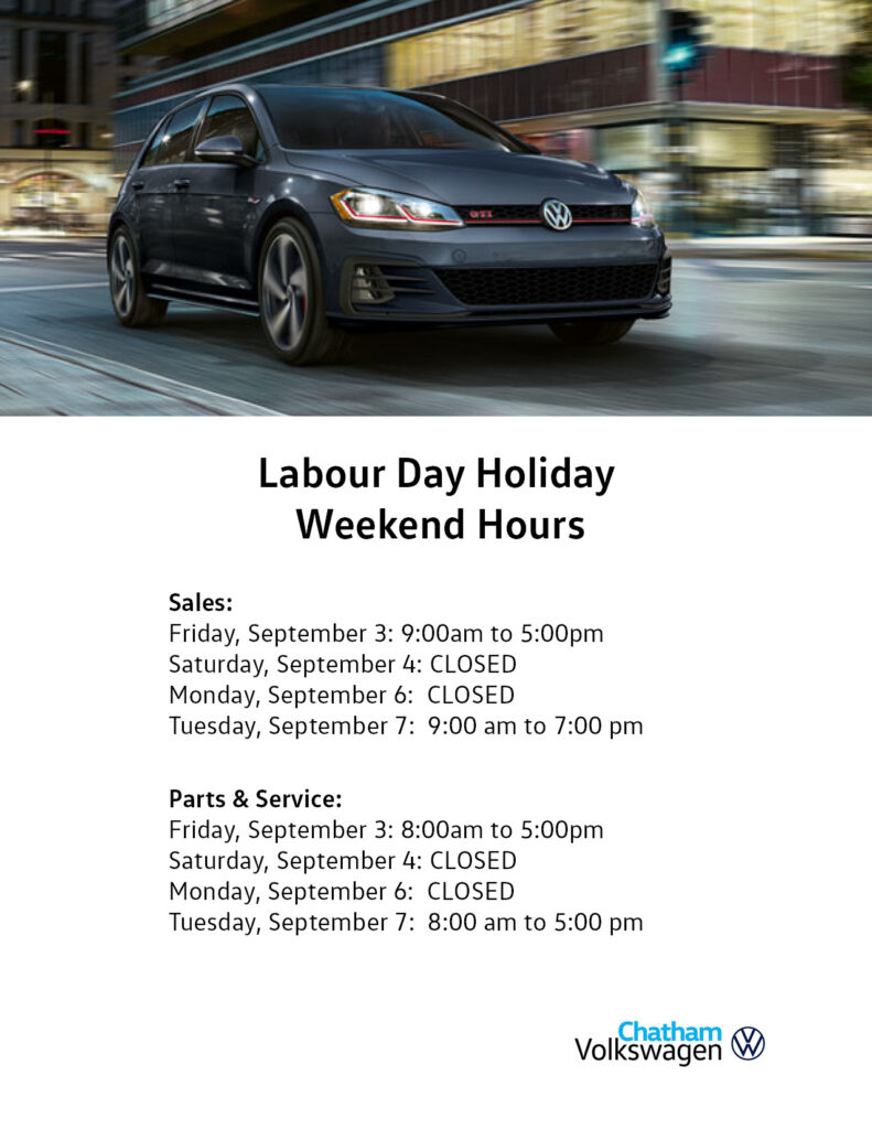 Labour Day Hours Chatham 2021