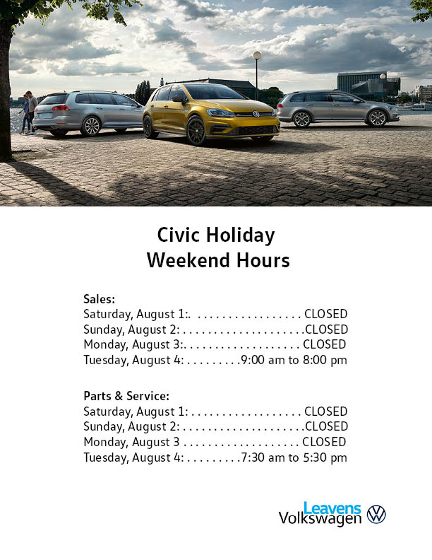 Civic Holiday Hours Leavens 2020