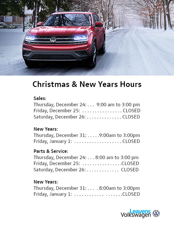 Christmas Hours Leavens 2020