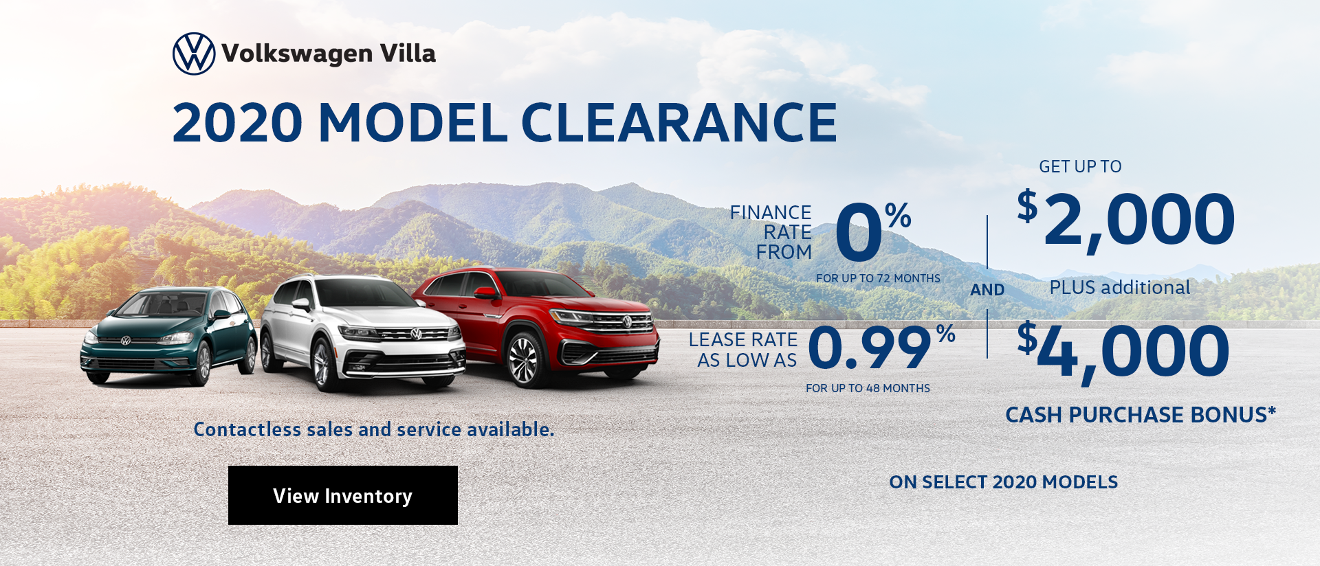 Vw Villa 2020 Clearance Website Banner V1