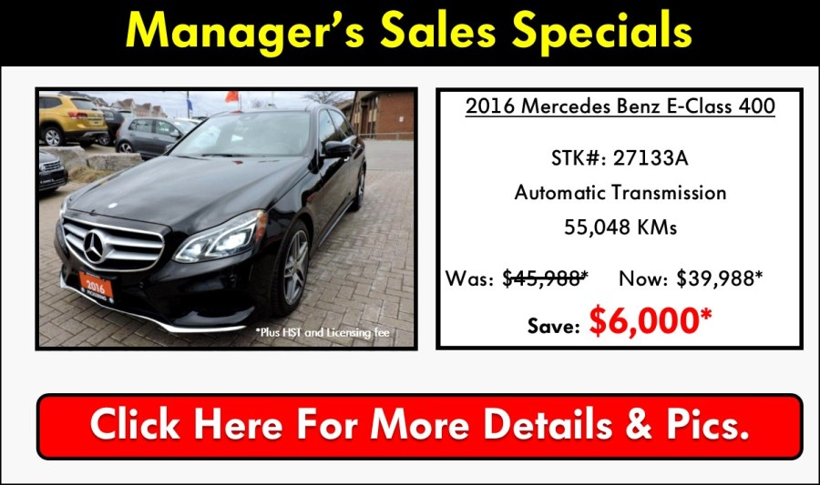 Pickering Volkswagen, Certified Pre-Owned Specials, Volkswagen Used Car Specials, Volkswagen Pre-Owned, Volkswagen Sales Specials, Volkswagen Manager Sales Specials, 2016 Mercedes Benz E400, Mercedes Benz E-Class, Mercedes Benz E400 For Sale, 905-420-9700, sales@pvw.com,