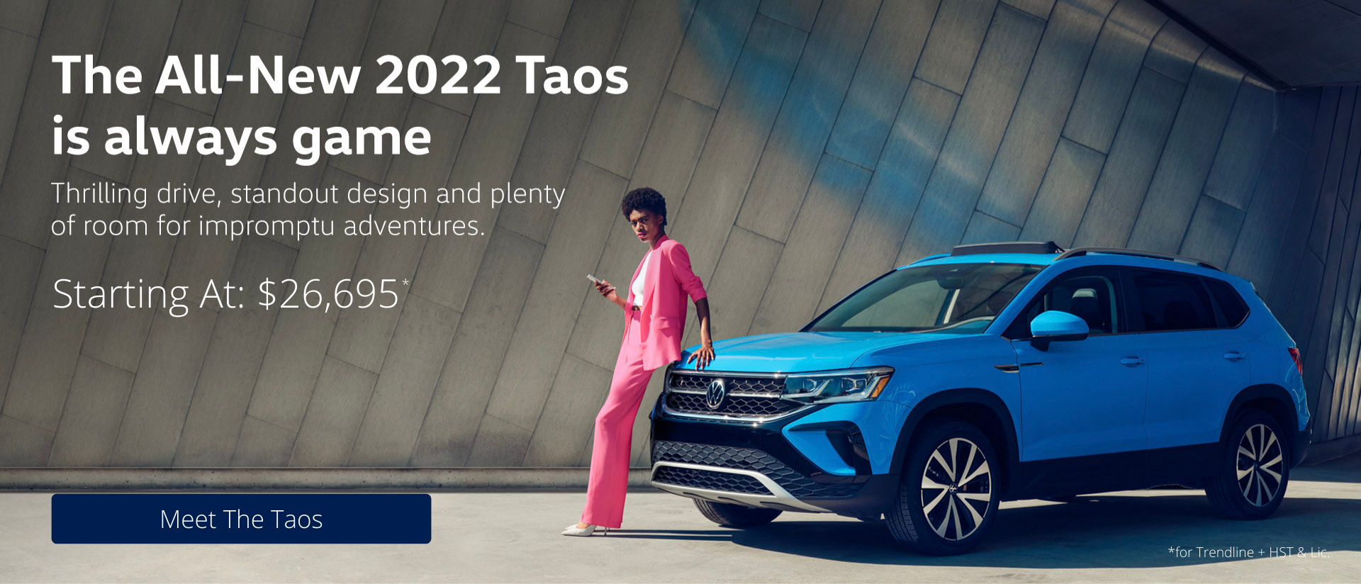 Taos Homepage Banner With Pricing