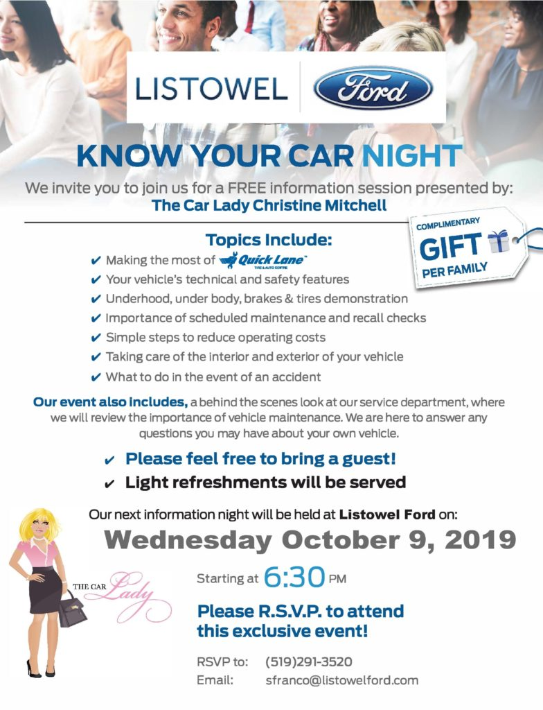 Get to know your car on October 9th at Listowel Ford's Service information night/service clinic in Listowel, Ontario.
