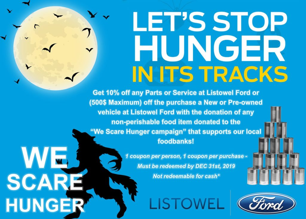 Get a Discount When You Donate to the We Scare Hunger Food Drive at Listowel Ford