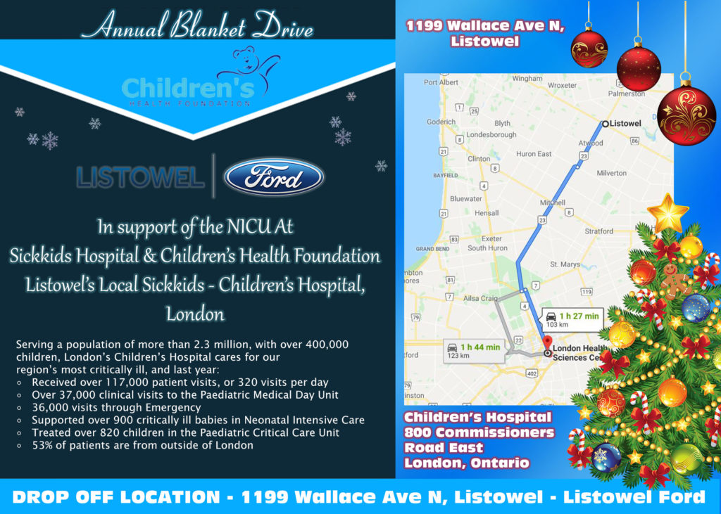 Donate new and unused blankets to the Listowel Ford Holiday Blanket Drive in support of SickKids London